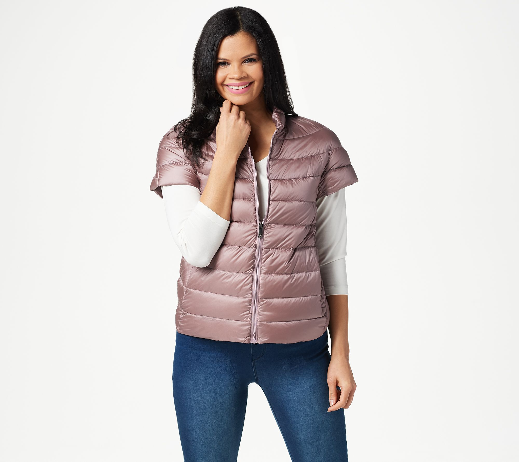 17b619473584 Martha Stewart Quilted Down Short Sleeve Puffer Jacket - Page 1 — QVC.com