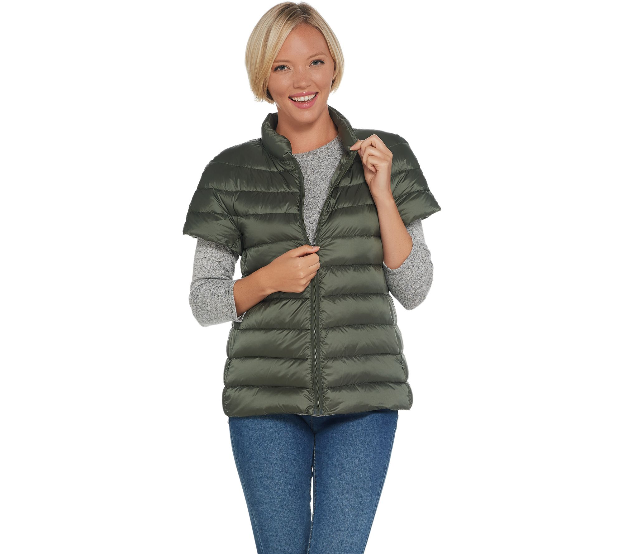 Martha Stewart Quilted Down Short Sleeve Puffer Jacket - Page 1 — QVC.com