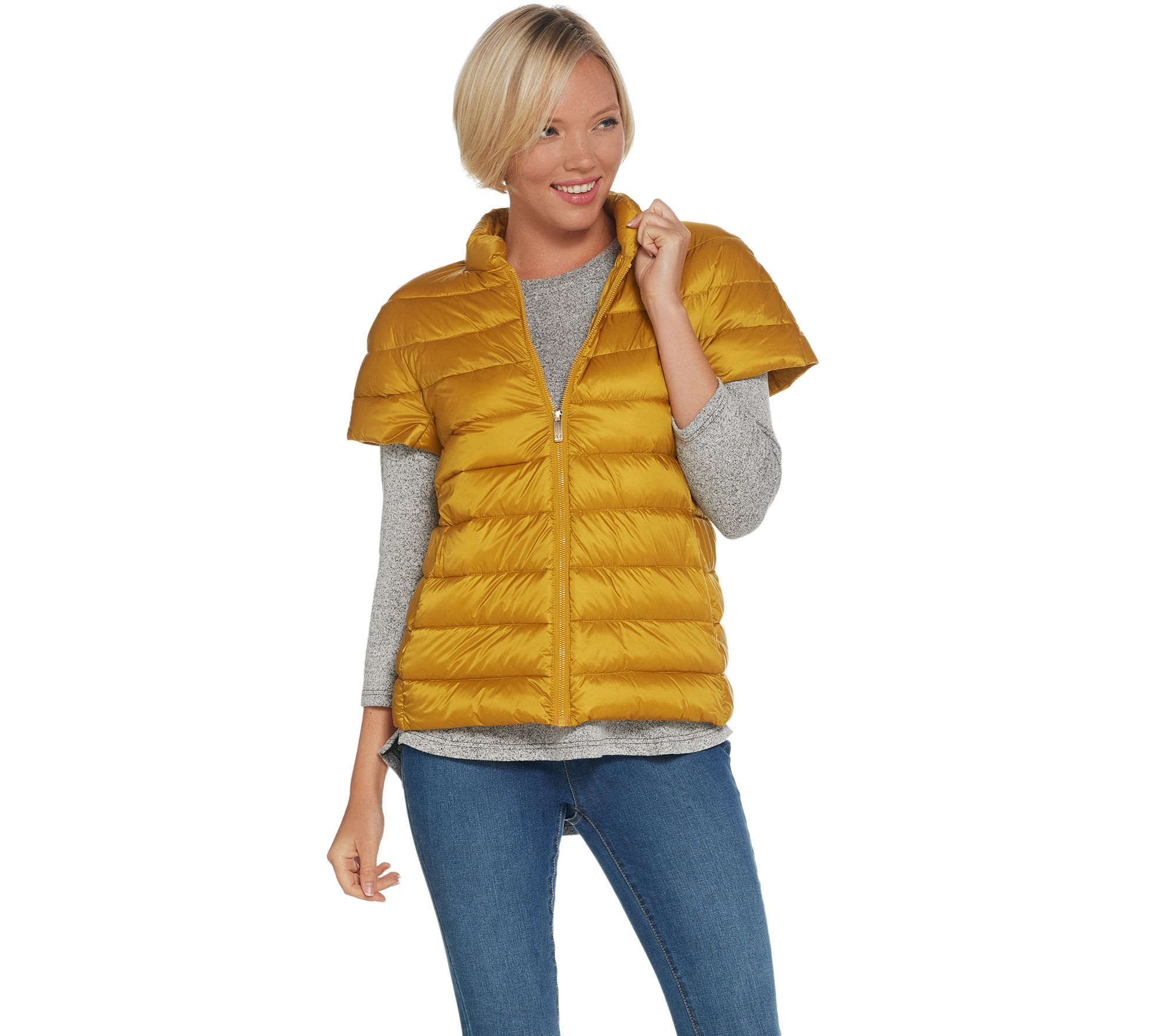 1845770ad Martha Stewart Quilted Down Short Sleeve Puffer Jacket — QVC.com