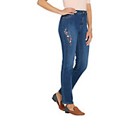 Susan Graver Petite High Stretch Fly Front Jeans with Embroidery - A346397
