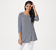 Dennis Basso Mitered Stripe Soft Touch Peplum Top - A349297