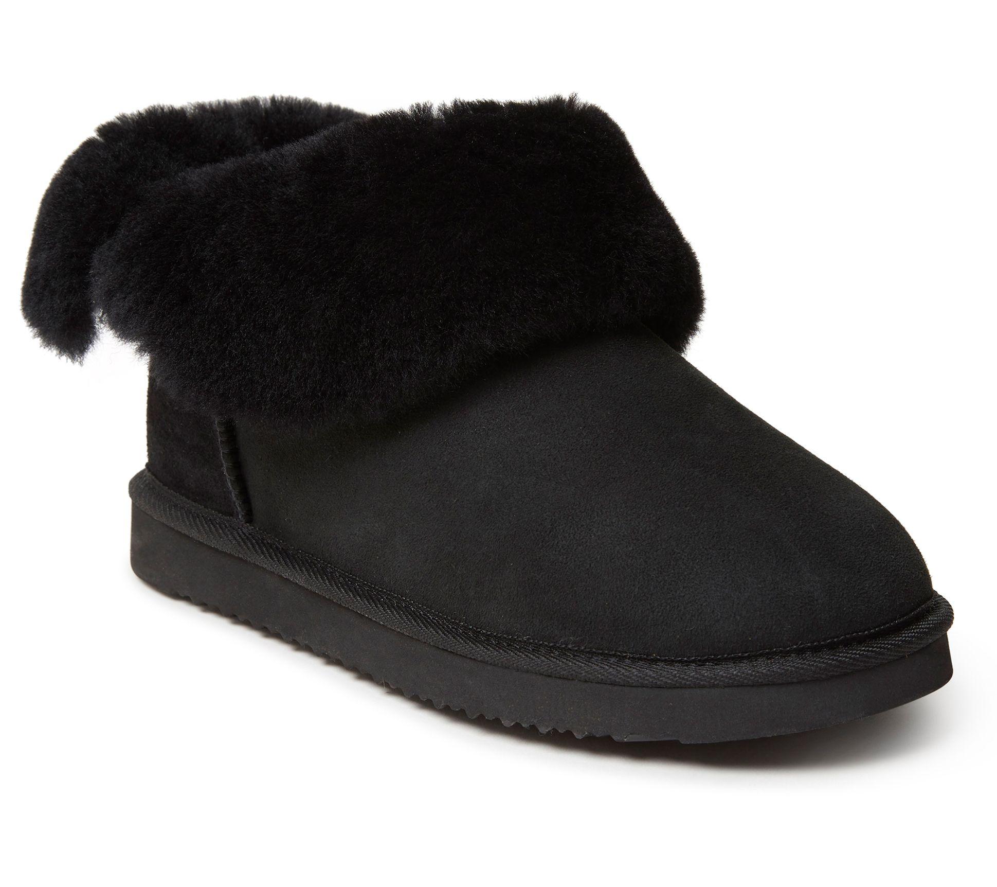 New Dearfoams Women/'s Genuine Suede Bootie Slipper