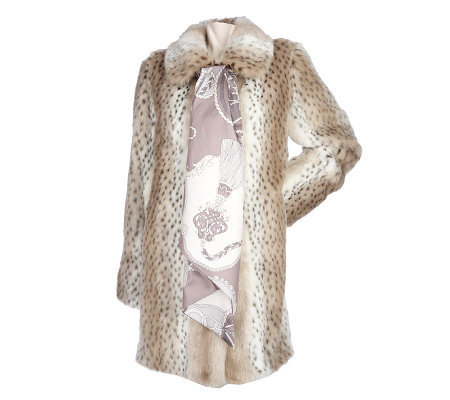 Dennis Basso Cream Lynx Faux Fur Coat with Printed Scarf
