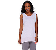 LOGO by Lori Goldstein Sweater Knit Tank with Challis Details - A264598