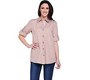 Joan Rivers 3/4 Sleeve Boyfriend Shirt with Gingham Accents - A275698