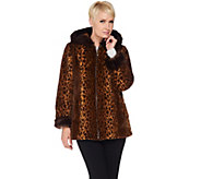 Dennis Basso Woven Animal Print Faux Fur Jacket with Hood - A287498