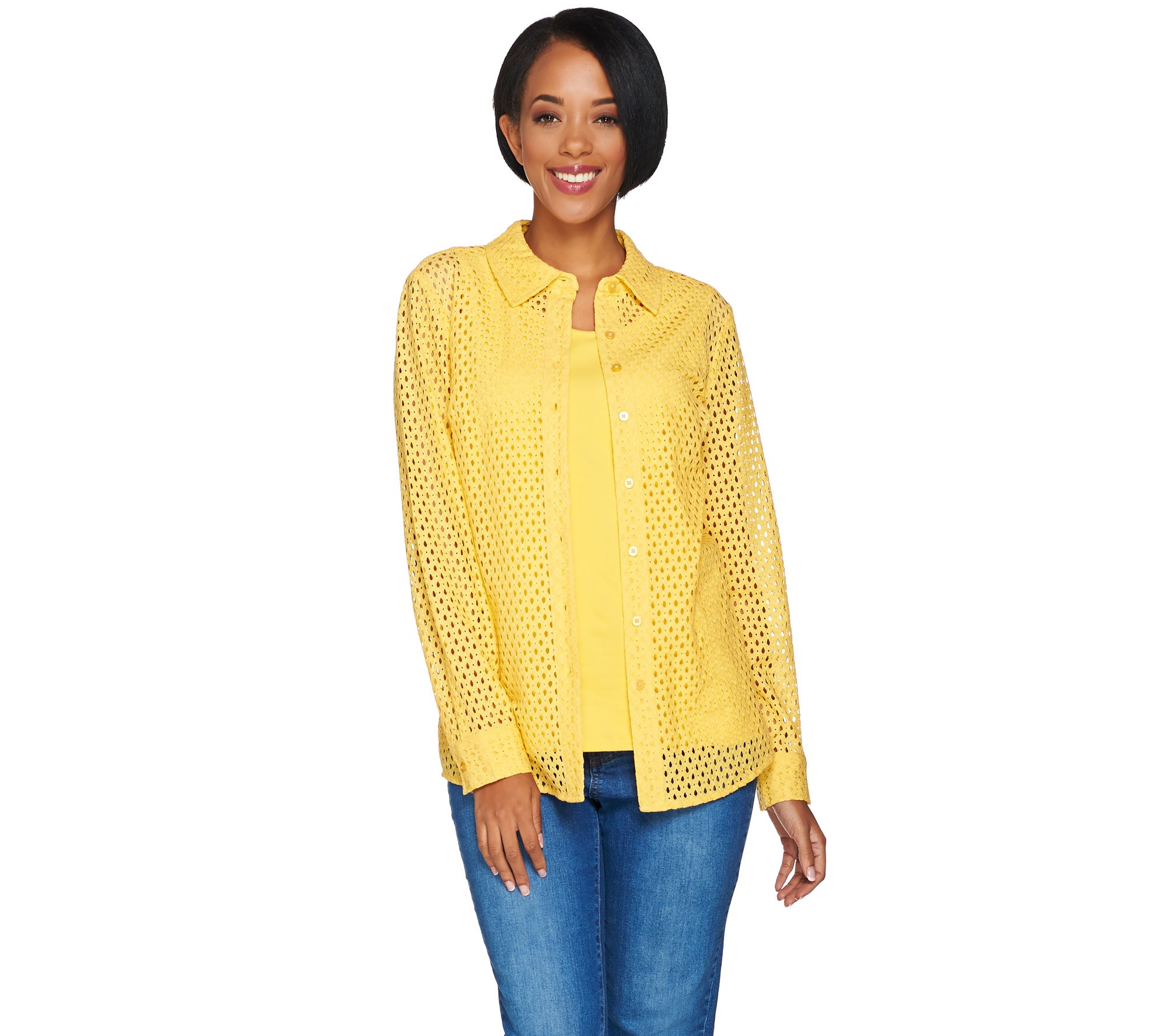 Denim Co Button Front Eyelet Shirt With Knit Tank Page 1 Qvc Com