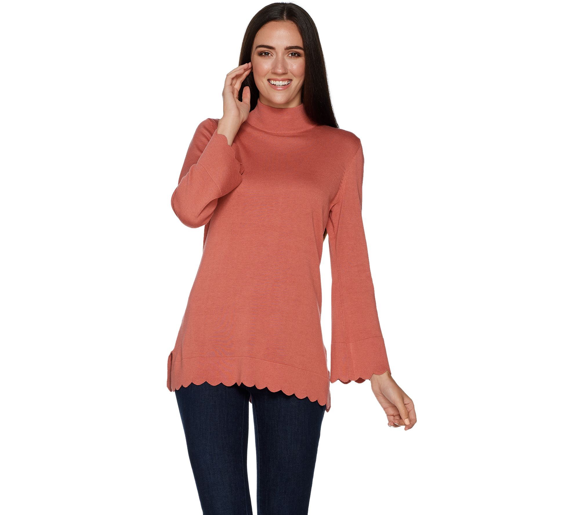1529e58e8b Isaac Mizrahi Live! Mock Neck Sweater with Scallop Bell Sleeves ...