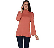 Isaac Mizrahi Live! Mock Neck Sweater with Scallop Bell Sleeves & Hem - A295898