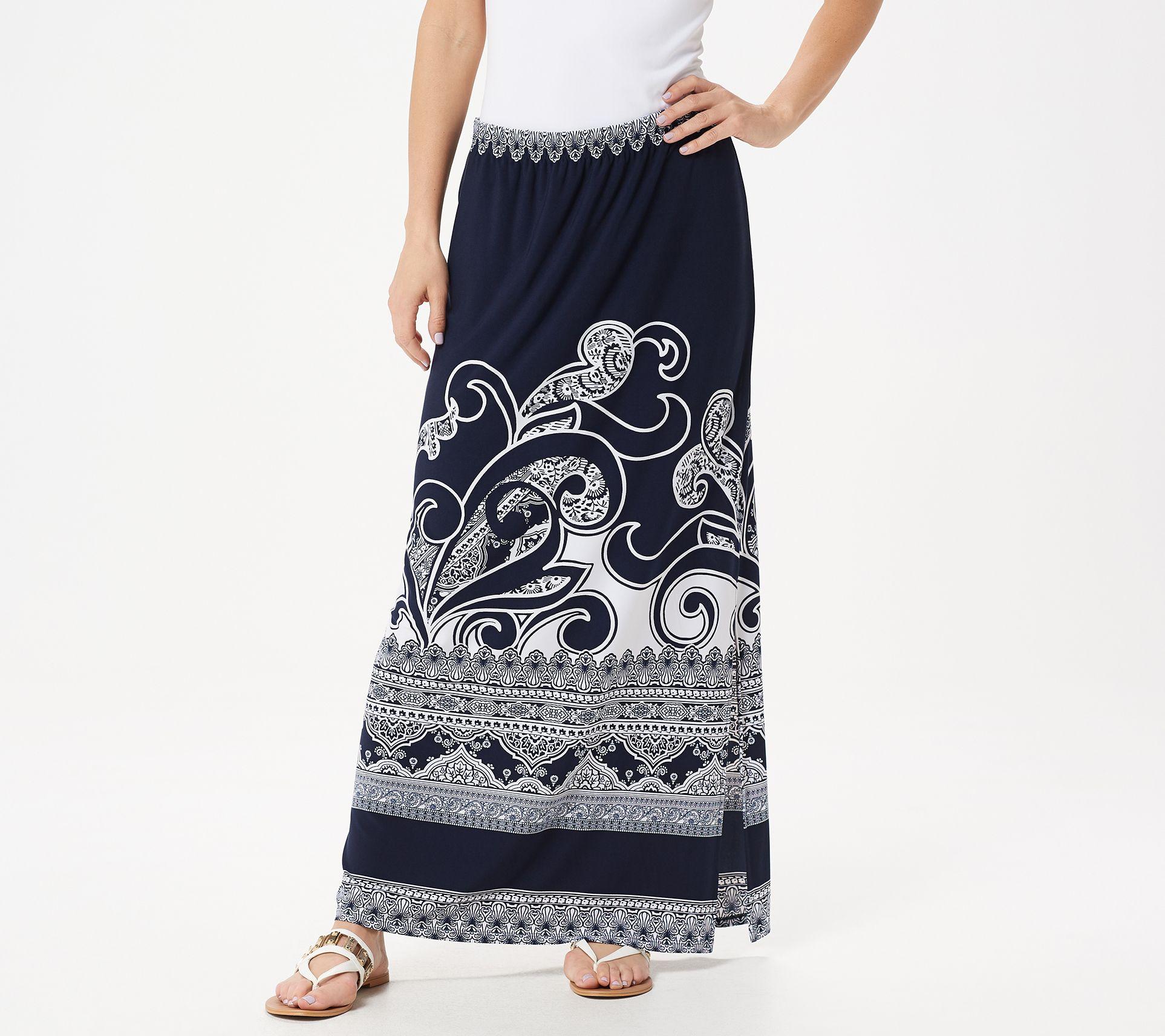 7b34fd7df79 Susan Graver Petite Printed Liquid Knit Maxi Skirt — QVC.com