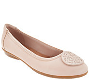 Clarks Leather Medallion Comfort Ballet Flats - Gracelin Lola - A304298