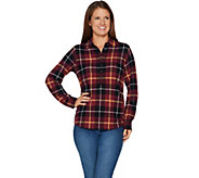 As Is Denim & Co. Heavenly Jersey Long Sleeve Plaid Henley Top - A304898