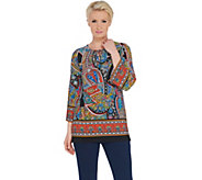 Susan Graver Printed Liquid Knit Top with Lacing - A306498