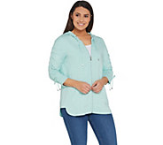 Isaac Mizrahi Live! SOHO Ruched Sleeve Zip Front Hoodie - A307998