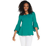 Isaac Mizrahi Live! Pebble Knit Peplum Top with Cascade Sleeve - A309998