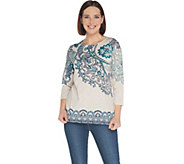 Susan Graver Weekend Printed Stretch Cotton Modal Top - A310098