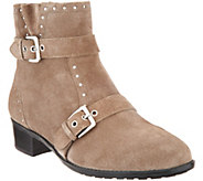 Isaac Mizrahi Live! Leather or Suede Bootie w/ Buckle and Stud Detail - A310198