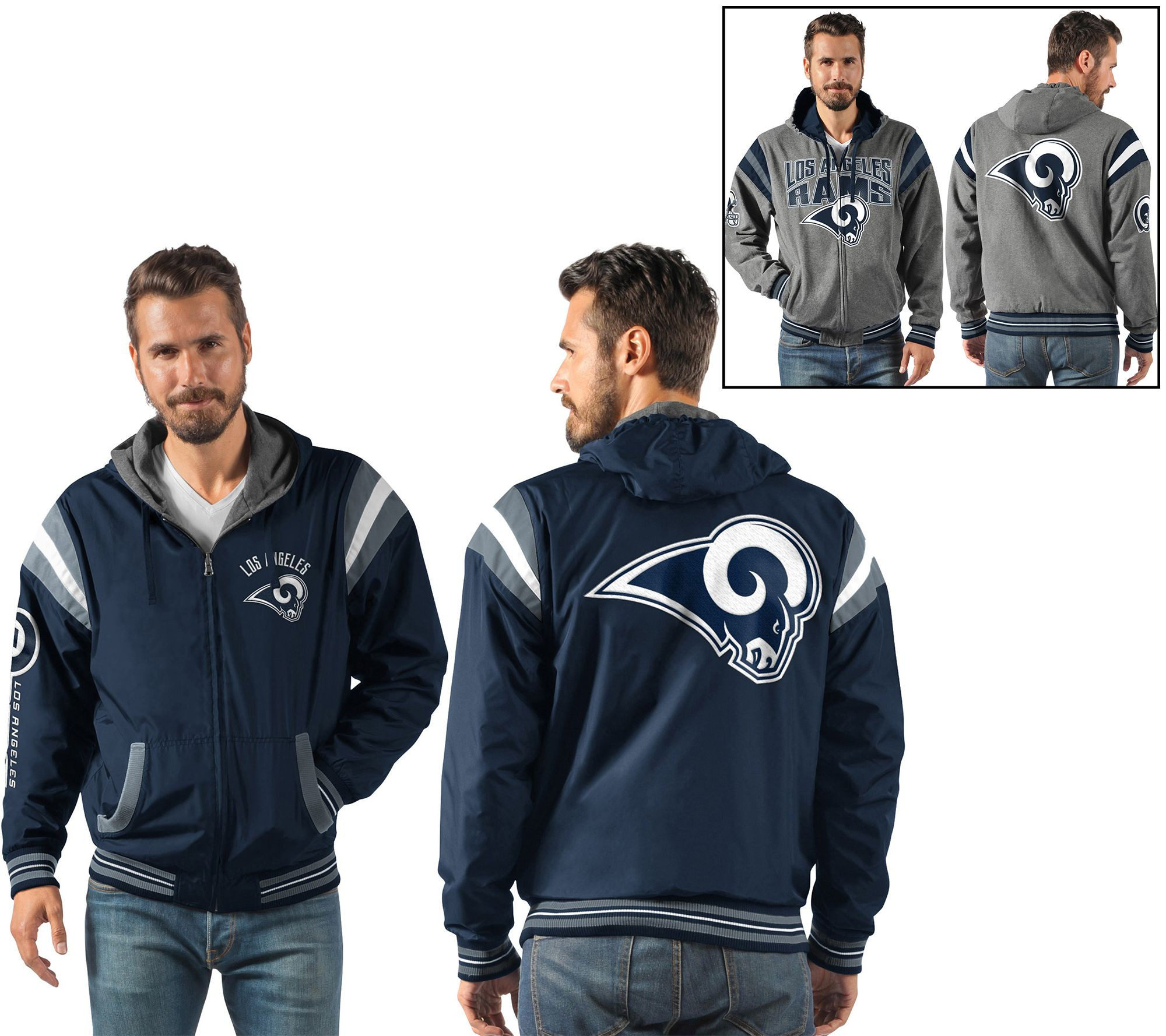 e73eaab11e NFL Ultimate Fan Reversible Hooded Full Zip Jacket - Page 1 — QVC.com