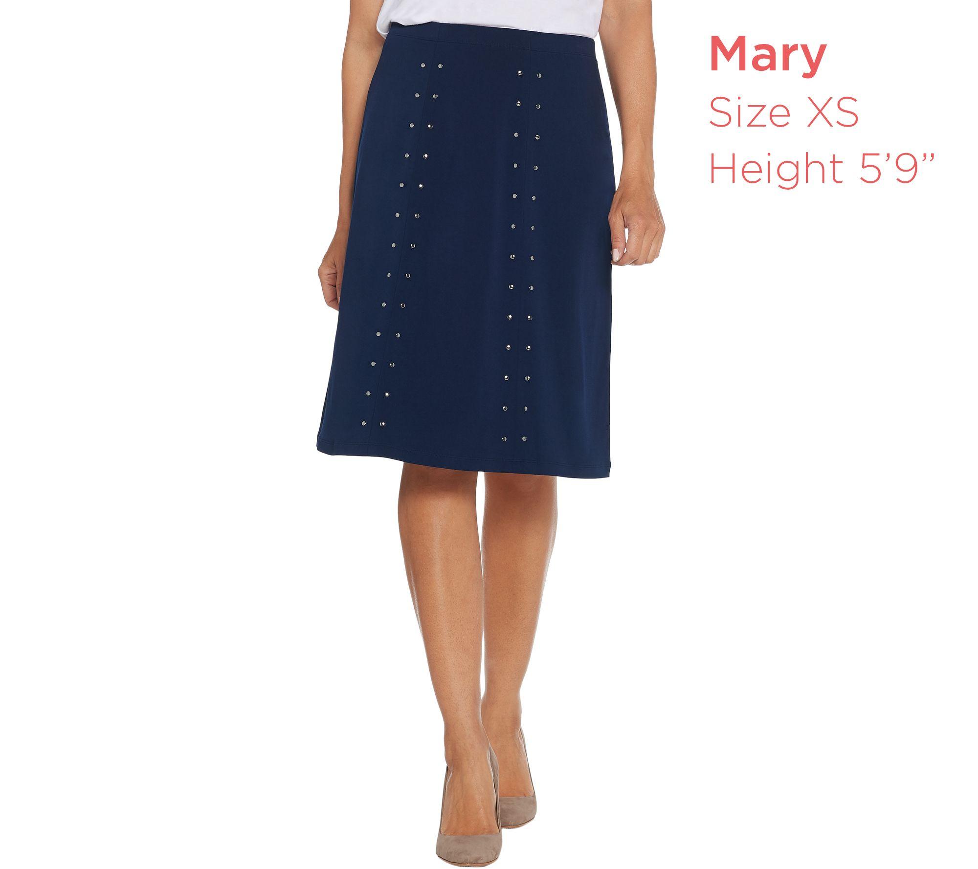 3c49624b60ef Susan Graver Liquid Knit 6-Gore Skirt with Stud Trim - Page 1 — QVC.com