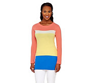 As Is Isaac Mizrahi Live! 2-Ply Cashmere Color-Block Tunic Sweater - A346498