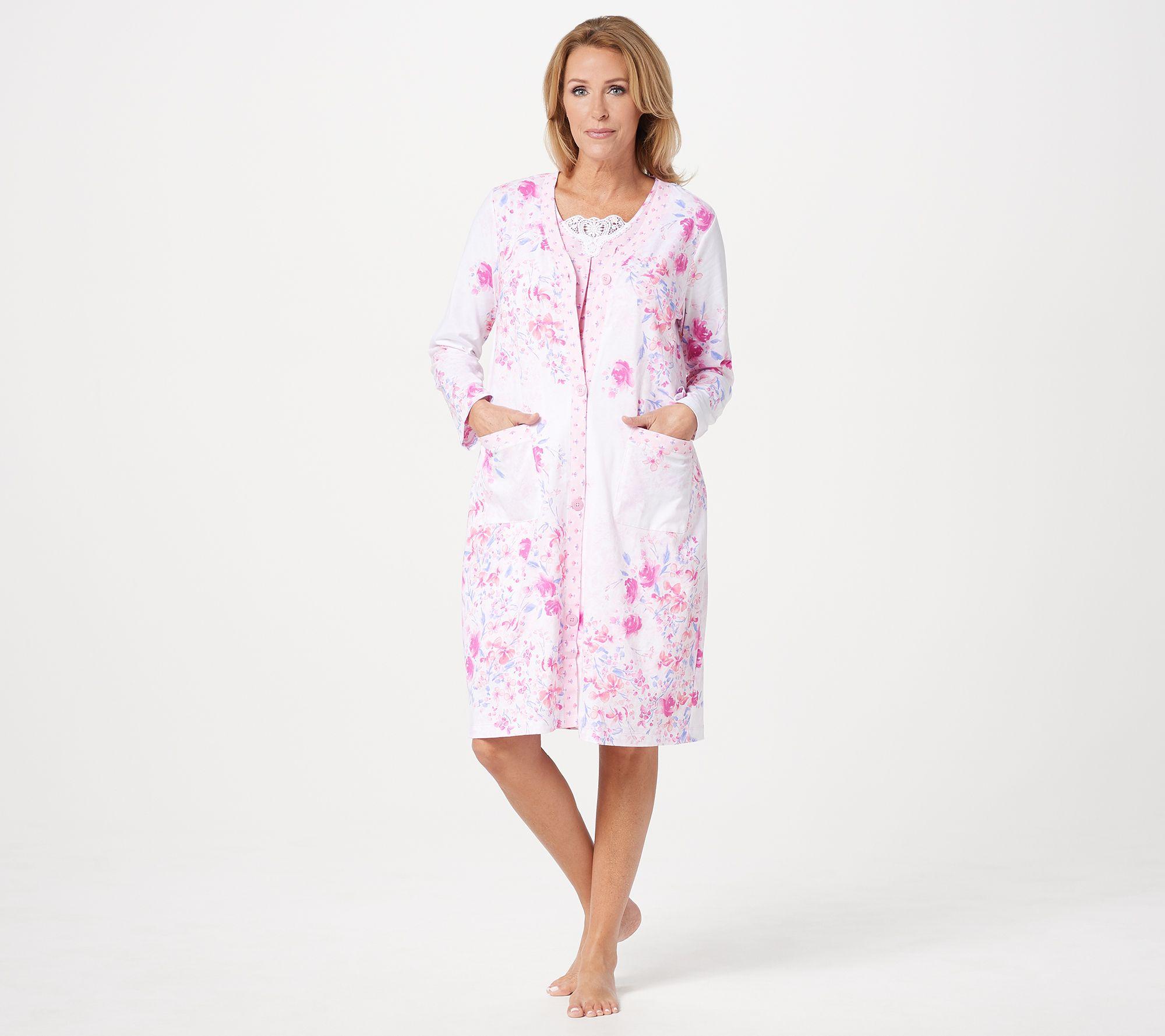 0aa2108582 Carole Hochman Modern Floral Cotton Jersey Robe & Chemise Set - Page 1 —  QVC.com