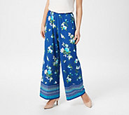 Joan Rivers Regular Mixed Print Pull-On Palazzo Pants - A347398