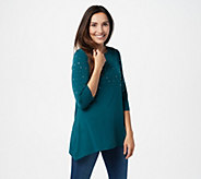 Quacker Factory 3/4-Sleeve Trapeze Hem Top with Rhinestones - A367098