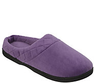 Dearfoams Microfiber Velour Slippers with Quilted Cuff - A418098