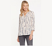 NYDJ Pullover 3/4-Sleeve Pintuck Blouse - A426498