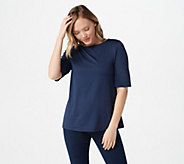 Susan Graver Essentials Butterknit Elbow Sleeve Bateau Neck Top - A215099