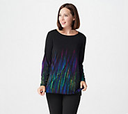 Susan Graver Liquid Knit Long Sleeve Border Print Tunic - A239799