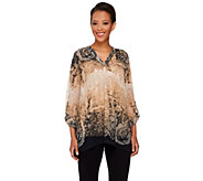 Susan Graver Printed Sheer Chiffon Tunic with Roll Tab Sleeves - A266799