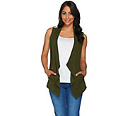 Susan Graver Weekend Stretch Cotton Modal Drape Front Vest - A278899