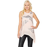 H by Halston Sleeveless Embellished Top with Asymmetric Hem - A284099