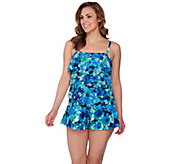 As Is Fit 4 U Bandeau V- Tiered Mesh Romper Swimsuit - A286399