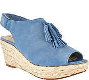 Isaac Mizrahi Live! Suede Wedge Sandals with Tassel - A287199