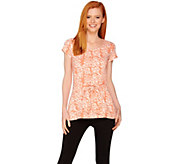 H by Halston Short Sleeve Petal Print Tie Front Knit Top - A288599