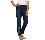 Studio by Denim & Co. Embroidered Stretch Ankle Jeans - A296299