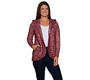 Isaac Mizrahi Live! SOHO Textured Open Front Hooded Cardigan - A298799
