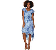 H by Halston Petite Rose Print Cap Sleeve Hi-Low Dress - A303199