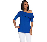 H by Halston Jet Set Jersey Ruffle One-Shoulder Top - A308099