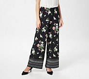 Joan Rivers Petite Mixed Print Pull-On Palazzo Pants - A347399