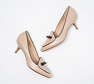 Isaac Mizrahi Live! Leather Bow Pumps with Piping Detail - A349199