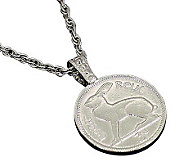 Lucky Rabbit/Irish 3-Pence Coin Pendant - C213701