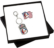 Patriotic Santa Colorized Quarter Flag Pin and Key Chain Set - C214205