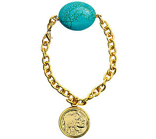 Gold-Layered Buffalo Nickel Bracelet with Turquoise Gemstone