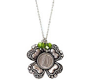 Irish Three Pence Four Leaf Clover & Green Hear t Charm Pendan - C213739
