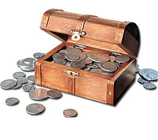Historic Wooden Treasure Chest of Rare Old