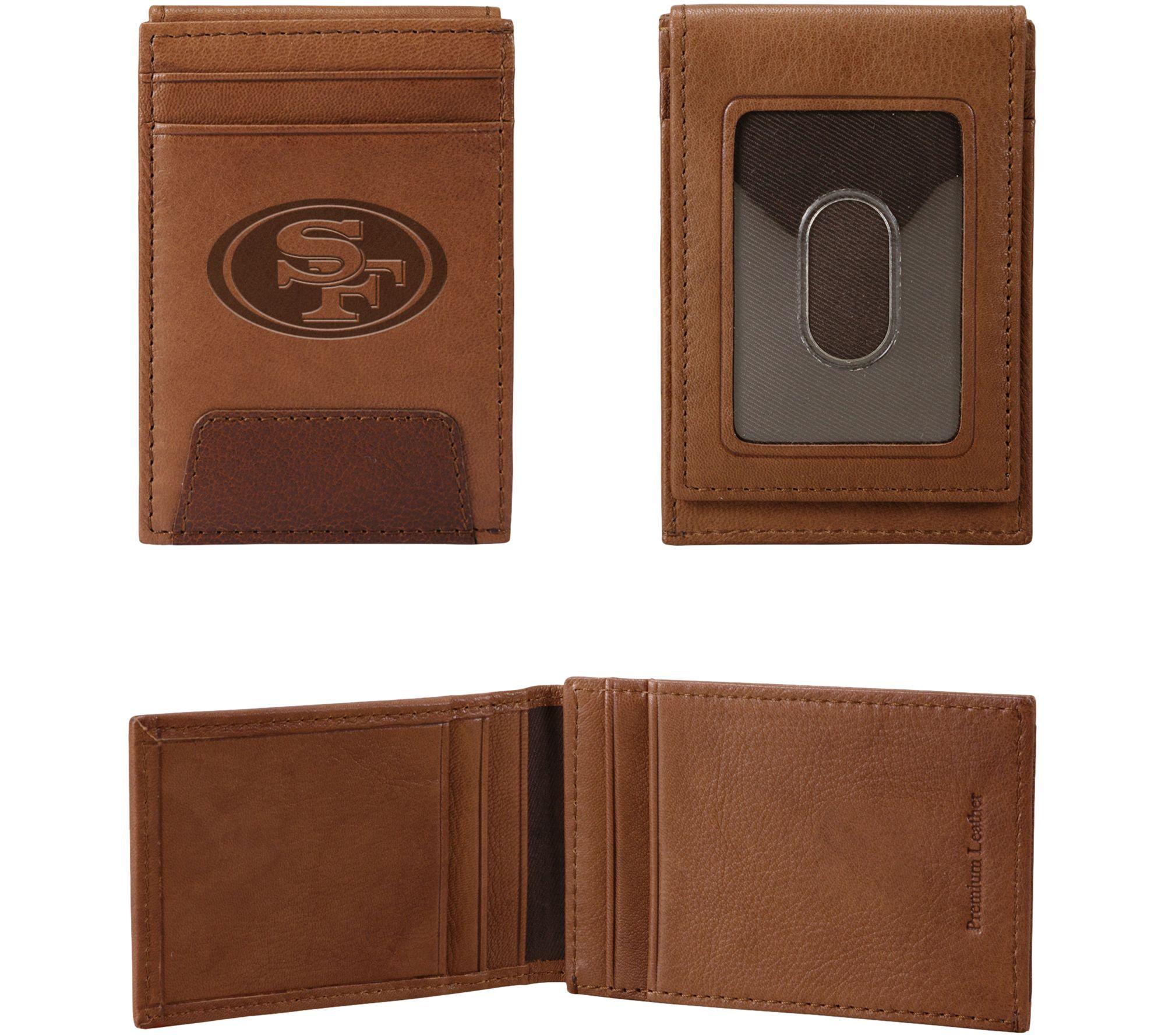 Rico NFL Mens NFL Tri-Fold Leather Wallet Brown
