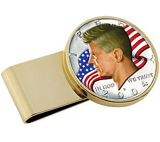 JFK Half Dollar Flag Gold Tone Stainless